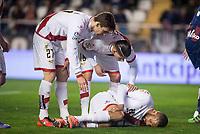 Rayo Vallecano's Diego LLorente (L), Ze Castro (C) and Bebe during La Liga match. March 12,2016. (ALTERPHOTOS/Borja B.Hojas)