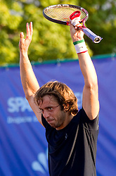 Paolo Lorenzi of Italy celebrates after winning during the final match during day seven of the ATP Challenger Tour BMW Ljubljana Open 2011, on September 25, 2011, in TC Ljubljana Siska, Slovenia. (Photo by Vid Ponikvar / Sportida)