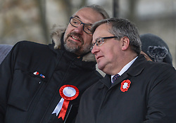November 11, 2016 - Warsaw, Poland - Bronislaw Komorowski (Right), the former President of Poland and Mateusz Kijowski (Left), the KOD movement leader social activist and blogger, during the gathering at the Committee for the Defense of Democracy (KOD) gathering on Friday 11th November, ahead of the march to mark the 98th anniversary of Poland's independence. .On Friday, 11 November 2016, in Warsaw, Poland. (Credit Image: © Artur Widak/NurPhoto via ZUMA Press)