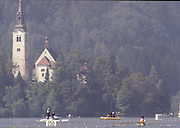 Bled, Slovenia, YUGOSLAVIA.    general View of the Rowing Course used for the 1989 World Rowing Championships, Lake Bled. Church, Island, [Mandatory Credit. Peter Spurrier/Intersport Images]