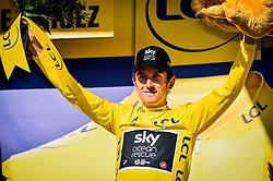 Team Sky's Geraint Thomas celebrates after winning stage twelve of the 2018 Tour de France.