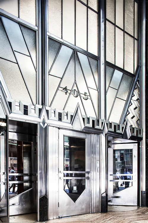 The silvery, Art Deco, Lexington Avenue entrance to the palatial Chrysler Building,  constructed from 1928 to 1930