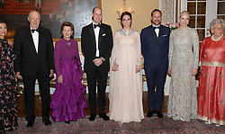 The Duke and Duchess of Cambridge with (left to right) Princess Martha Louise of Norway, Harald V of Norway, Queen Sonja of Norway, Crown Prince Haakon of Norway, Crown Princess Mette Marit of Norway and Princess Astrid of Norway ahead of a dinner at the Royal Palace, Oslo, Norway and the end of the third day of their tour of Scandinavia.