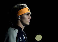 Tennis - 2019 Nitto ATP Finals at The O2 - Day Two<br /> <br /> Singles Group Andre Agassi: Rafael Nadal (Spain) Vs. Alexander Zverev (Germany)<br /> <br /> Alexander Zverev (Germany) focused and ready for battle enters the court <br /> <br /> COLORSPORT/DANIEL BEARHAM<br /> <br /> COLORSPORT/DANIEL BEARHAM