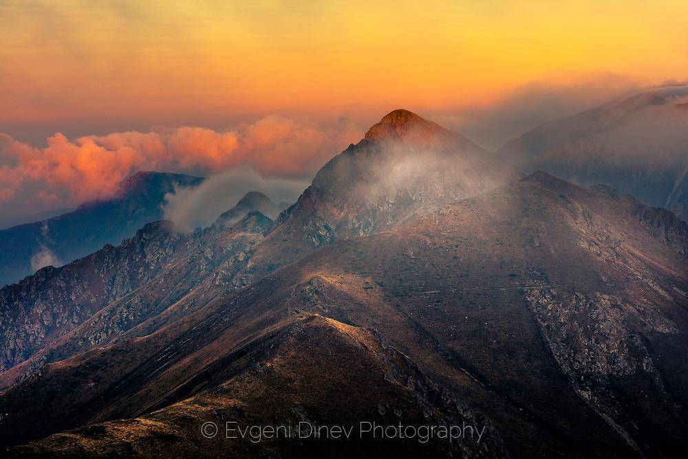 Main ridge of Balkan Mountains at sunset