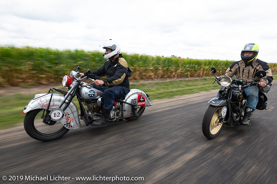 Mark Hill (L) on his 1940 Indian 4-cylinder riding with his son Loring on a 4-cylinder Henderson during the Cross Country Chase motorcycle endurance run from Sault Sainte Marie, MI to Key West, FL (for vintage bikes from 1930-1948). Stage 3 from Milwaukee, WI to Urbana, IL. USA. Sunday, September 8, 2019. Photography ©2019 Michael Lichter.