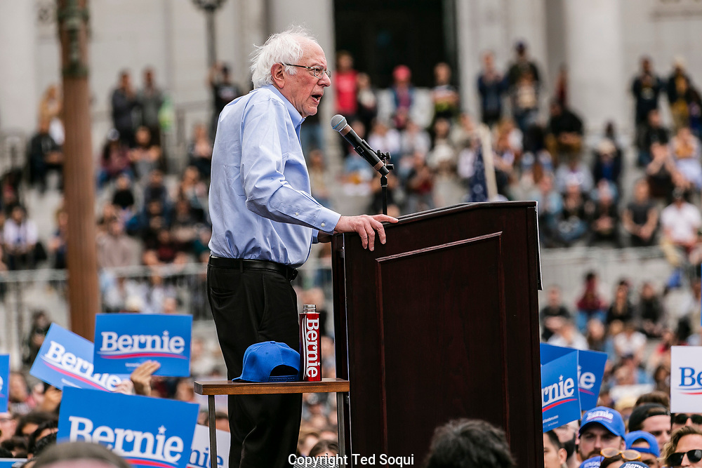 Bernie Sanders speaks to a crowd at Grand Park in downtown Los Angeles.