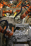 Mlada Boleslav/Tschechische Republik, Tschechien, CZE, 16.03.07: Produktion von Karosserieteilen des Skoda Octavia mit Schweissrobotern in der Skoda Auto Fabrik in Mlada Boleslav. Der tschechische Autohersteller Skoda ist ein Tochterunternehmen der Volkswagen Gruppe. <br /> <br /> Mlada Boleslav/Czech Republic, CZE, 16.03.07: Robotized production lines of Octavia vehicle models at Skoda car factory in Mlada Boleslav. Czech car producer Skoda Auto is subsidiary of the German Volkswagen Group (VAG).