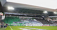 Saint-Etienne flag behind the goal during the Europa League match between Saint-Etienne and Manchester United at Stade Geoffroy Guichard, Saint-Etienne, France on 22 February 2017. Photo by Phil Duncan.