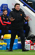 Walter Mazzarri ,manager of Watford. Premier league match, Leicester City v Watford at the King Power Stadium in Leicester, Leicestershire on Saturday 6th May 2017.<br /> pic by Bradley Collyer, Andrew Orchard sports photography.