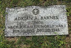 31 August 2017:   Veterans graves in Park Hill Cemetery in eastern McLean County.<br /> <br /> Adrian A Barnes Illinois Wagoner 106 AM TN World War I Feb 20 1892 Dec 20 1946
