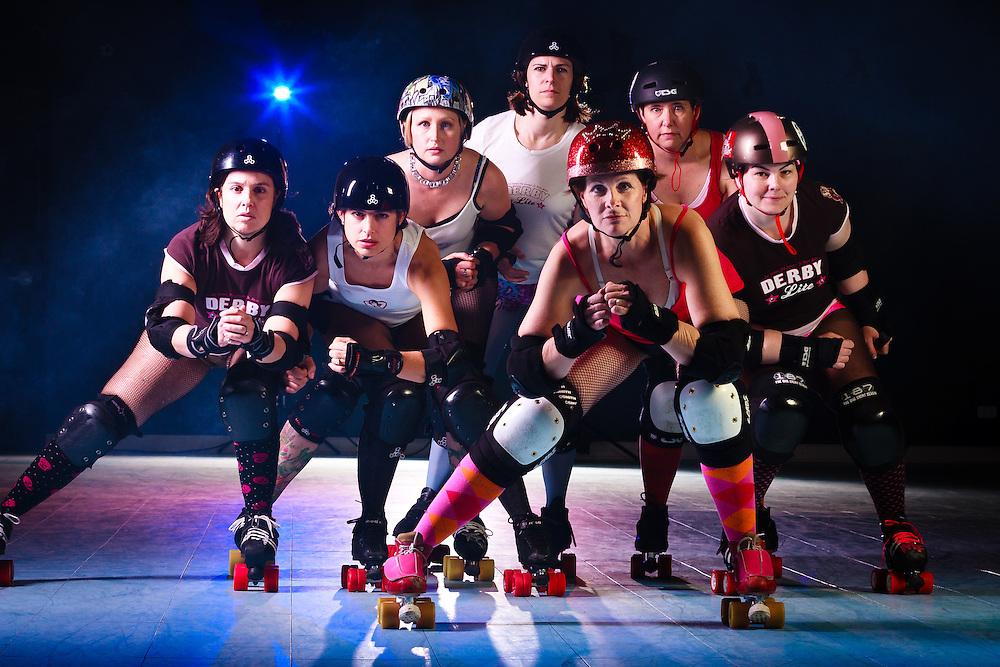 Skaters from DerbyLite, a roller derby fitness program.