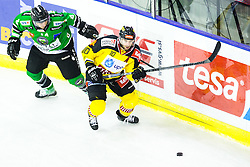 02.11.2014, Hala Tivoli, Ljubljana, SLO, EBEL, HDD Telemach Olimpija Ljubljana vs UPC Vienna Capitals, 16. Runde, in picture Marvin Degon (HDD Telemach Olimpija, #8) and Matt Watkins (UPC Vienna Capitals, #10) during the Erste Bank Icehockey League 16. Round between HDD Telemach Olimpija Ljubljana and UPC Vienna Capitals at the Hala Tivoli, Ljubljana, Slovenia on 2014/11/02. Photo by Matic Klansek Velej / Sportida