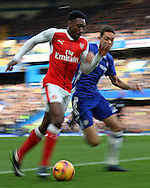 Danny Welbeck of Arsenal and Nemanja Matic of Chelsea chasing the ball. Premier league match, Chelsea v Arsenal at Stamford Bridge in London on Saturday 4th February 2017.<br /> pic by John Patrick Fletcher, Andrew Orchard sports photography.