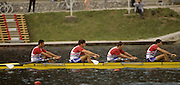 Bled, Slovenia, YUGOSLAVIA.  GBR M4-, Bow. Salih HASSAN, John GARRETT, Nick BURFITT, Peter MULKERRINS. GBR men's Coxless Four.1989 World Rowing Championships, Lake Bled. [Mandatory Credit. Peter Spurrier/Intersport Images]