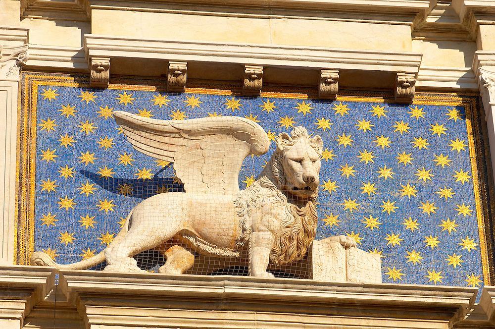 The Winged Lion on The Bell Tower - Saint Mark's Square  - Venice Italy .<br /> <br /> Visit our ITALY HISTORIC PLACES PHOTO COLLECTION for more   photos of Italy to download or buy as prints https://funkystock.photoshelter.com/gallery-collection/2b-Pictures-Images-of-Italy-Photos-of-Italian-Historic-Landmark-Sites/C0000qxA2zGFjd_k