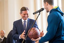 "President of Slovenia, Borut Pahor during award ceremony ""Zlati red za zasluge"" for Basketball association of Slovenia on the day of statehood in the presidential palace, on June 25, 2018 in Ljubljana, Slovenia. Photo by Urban Urbanc / Sportida"