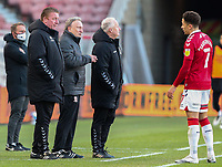 Middlesbrough manager Neil Warnock has words with his assistants Kevin Blackwell and Ronnie Jepson<br /> <br /> Photographer Alex Dodd/CameraSport<br /> <br /> The EFL Sky Bet Championship - Middlesbrough v Blackburn Rovers - Sunday 24th January 2021 - Riverside Stadium - Middlesbrough <br /> <br /> World Copyright © 2021 CameraSport. All rights reserved. 43 Linden Ave. Countesthorpe. Leicester. England. LE8 5PG - Tel: +44 (0) 116 277 4147 - admin@camerasport.com - www.camerasport.com