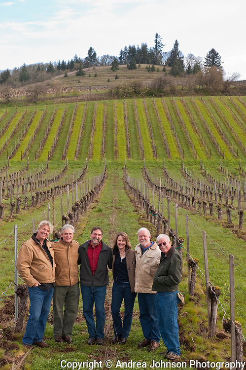 Oregon winemakers - Laurant Montalieu, Solena, Ken Wright, Steve Doerner, Cristom;  Lynn Penner-Ash, Ted & Terry Casteel, Bethel Heights at Bethel Heights Vineyard in Eola Hills, Willamette Valley, Oregon