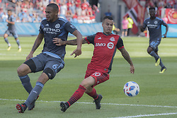 August 12, 2018 - Toronto, Ontario, Canada - MLS Game at BMO Field 2-3 New York City. IN PICTURE: SEBASTIAN GIOVINCO,ALEXANDER CALLENS (Credit Image: © Angel Marchini via ZUMA Wire)
