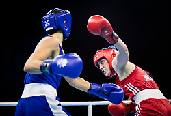 Northern Ireland's Michaela Walsh (red) v Australia's Skye Nicolson (blue) during the Woman's Feather (54-57kg) final at Oxenford Studios during day ten of the 2018 Commonwealth Games in the Gold Coast, Australia.
