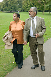 Older couple walking in the Park,