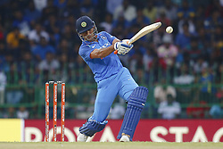 August 31, 2017 - Colombo, Sri Lanka - Indian cricketer M S Dhoni plays a shot during the 4th One Day International cricket match between Sri Lanka and India at the R Premadasa international cricket stadium at Colombo, Sri Lanka on Thursday 31 August 2017. (Credit Image: © Tharaka Basnayaka/NurPhoto via ZUMA Press)