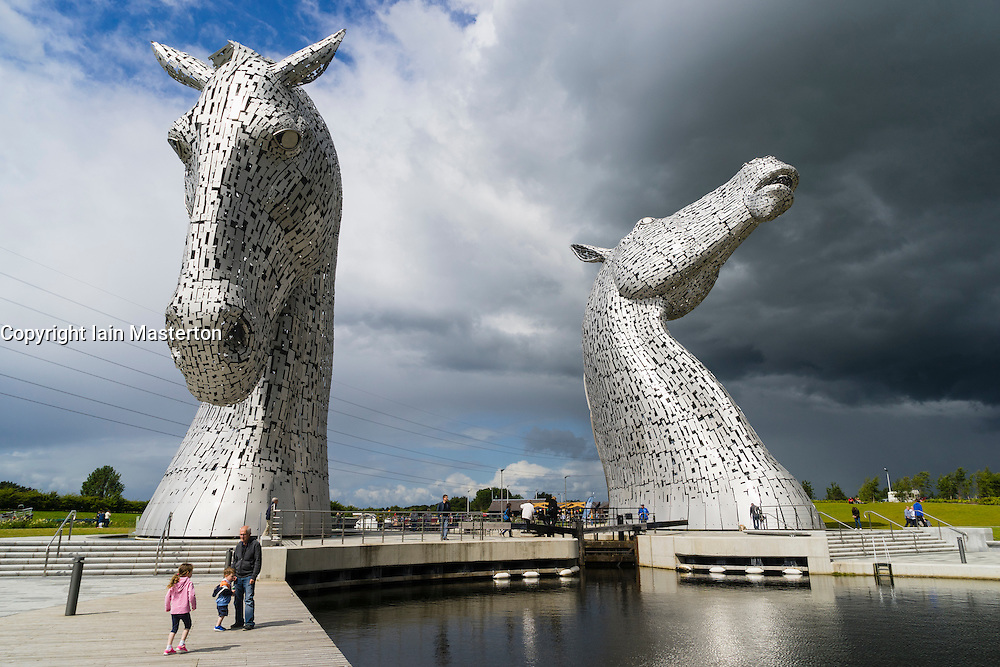 The Kelpies sculpture of two horses at entrance to the  Forth and Clyde Canal at The Helix Park near Falkirk, Scotland
