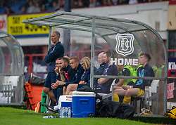 Dundee's manager James McPake in the dugout. Dundee 1 v 0 Ayr United, Scottish Championship game played 10/8/2019.