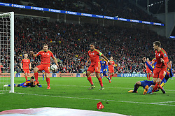 Aaron Ramsey of Wales scores the opening goal - Mandatory byline: Dougie Allward/JMP - 07966 386802 - 13/10/2015 - FOOTBALL - Cardiff City Stadium - Cardiff, Wales - Wales v Andorra - European Qualifier 2016 - Group B