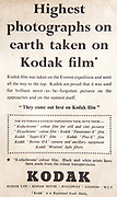 Mount Everest 1953 British first ascent advert - Kodak film