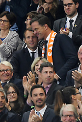 French President Emmanuel Macron, Prime Minister of Netherlands Mark Rutte during the FIFA 2018 World Cup Qualifier between France and the Netherlands at Stade de France on August 31, 2017 in Saint-Denis near Paris, France. Photo by Laurent Zabulon/ABACAPRESS.COM