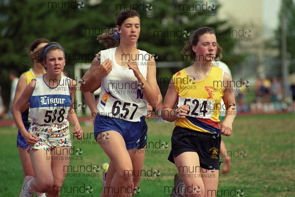 (Ottawa, Canada---26 April 1992) Laure Aldwinkle (657) at the 1991 Ottawa High School Invitation meet at the Terry Fox Athletic Facility. Photo 1992 Copyright Sean Burges / Mundo Sport Images.<br /> ******This is an unadjusted scan from the negative. You can buy it as is and clean it up yourself, or contact us for rates on providing the service for you. *******