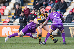 Newport's Matt O'Brien is tackled by Ebbw Vale's Kristian Parker - Mandatory by-line: Craig Thomas/Replay images - 04/02/2018 - RUGBY - Rodney Parade - Newport, Wales - Newport v Ebbw Vale - Principality Premiership