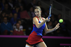 Czech Fed player Karoline Plishkova defeated French Kristina Mladenovic during match1 at the final round tie against Czech Republic at the Rhenus Arena, Strasbourg, France on november, 12, 2016. Photo by Corinne Dubreuil/ABACAPRESS.COM