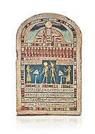 Ancient Egyptian stele dedicated to Ra-Harakhty & Atum by Psetjerfi, Late Period 26th Dynasty, (590-525 BC), Cat 1568. Egyptian Museum, Turin. white background, <br /> <br /> Gifted by the Cairo Museum .<br /> <br /> If you prefer to buy from our ALAMY PHOTO LIBRARY  Collection visit : https://www.alamy.com/portfolio/paul-williams-funkystock/ancient-egyptian-art-artefacts.html  . Type -   Turin   - into the LOWER SEARCH WITHIN GALLERY box. Refine search by adding background colour, subject etc<br /> <br /> Visit our ANCIENT WORLD PHOTO COLLECTIONS for more photos to download or buy as wall art prints https://funkystock.photoshelter.com/gallery-collection/Ancient-World-Art-Antiquities-Historic-Sites-Pictures-Images-of/C00006u26yqSkDOM