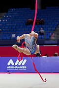 Tatyana Volozhanina competing during the Individual final at ribbon in Rhythmic Gymnastics World Cup at the Vitrifrigo Arena on May 30, 2021, in Pesaro, Italy. Tatyana is a Bulgarian rhythmic gymnastics born on January 28, 2003 in Irkutsk, Russia.