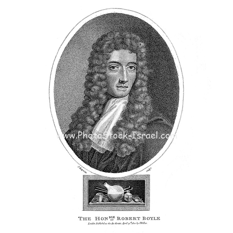 Robert Boyle FRS (25 January 1627 – 31 December 1691) was an Anglo-Irish natural philosopher, chemist, physicist, and inventor. Boyle is largely regarded today as the first modern chemist, and therefore one of the founders of modern chemistry, and one of the pioneers of modern experimental scientific method. He is best known for Boyle's law, which describes the inversely proportional relationship between the absolute pressure and volume of a gas, if the temperature is kept constant within a closed system. Among his works, The Sceptical Chymist is seen as a cornerstone book in the field of chemistry. He was a devout and pious Anglican and is noted for his writings in theology. Copperplate engraving From the Encyclopaedia Londinensis or, Universal dictionary of arts, sciences, and literature; Volume III;  Edited by Wilkes, John. Published in London in 1810