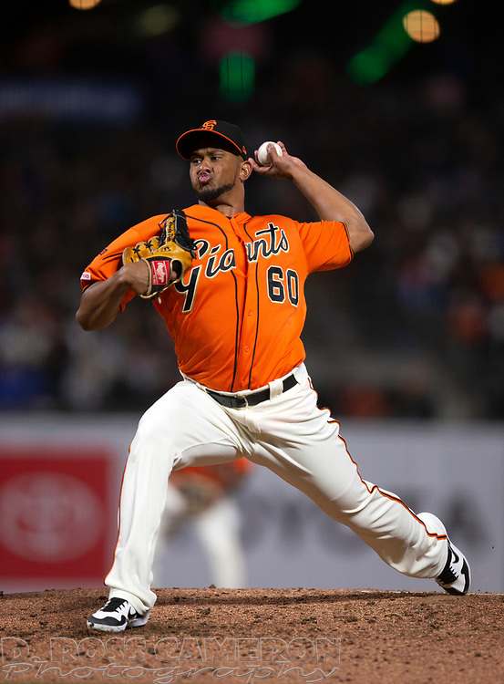 Sep 27, 2019; San Francisco, CA, USA; San Francisco Giants pitcher Wandy Peralta (60) delivers against the Los Angeles Dodgers during the fourth inning of a baseball game at Oracle Park. Mandatory Credit: D. Ross Cameron-USA TODAY Sports
