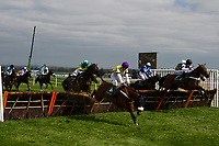 Grand National Meeting - Ladies' Day<br /> e.g. of caption:<br /> National Hunt Horse Racing - 2017 Randox Grand National Festival - Friday, Day Two [Ladies' Day]<br /> <br /> Will Kennedy on Clawform Piper stumbles on the near side in the 13.40 Alder Hey Children's Charity Handicap Hurdle (Grade 3) (Class 1)<br /> 2m 4f, Good at Aintree Racecourse.<br /> <br /> COLORSPORT/WINSTON BYNORTH