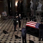 Dr. Jill Biden and Democratic presidential candidate Joe Biden pay their respects as the late Justice Ruth Bader Ginsburg lies in state at National Statuary Hall in the U.S. Capitol on Friday, September 25, 2020. Ginsburg died at the age of 87 on Sept. 18th and is the first women to lie in state at the Capitol.