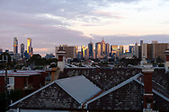Dawn breaks over the Melbourne skyline as the state waits to see if the lockdown will be extended as it enters 6th day of the state wide COVID-19 snap lockdown that has been placed on the State of Victoria.  (Photo by Michael Currie/Speed Media)