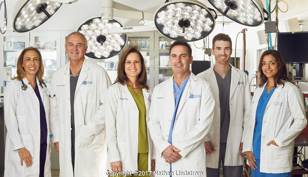 From left: Dr. Lisa DiBernardi, Dr. Wayne Whitney, Dr. Heidi Hottinger, Dr. Brian Beale, Dr. Caleb Hudson and Dr. Carley Giovanella are photographed at Gulf Coast Veterinary Specialists on Tuesday June 28, 2017 for Compassion First Pets.<br /> <br /> Nathan Lindstrom Photography<br /> <br /> ©2017 Nathan Lindstrom