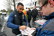 Callum Wilson (13) of AFC Bournemouth signs his autograph for a fan on arrival at the Vitality Stadium before the Premier League match between Bournemouth and West Ham United at the Vitality Stadium, Bournemouth, England on 19 January 2019.