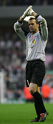 LIVERPOOL, ENGLAND - SUNDAY MARCH 27th 2005: Liverpool Legends' Sander Westerveld applauds the fans after beating the Celebrity XI during the Tsunami Soccer Aid match at Anfield. (Pic by David Rawcliffe/Propaganda)