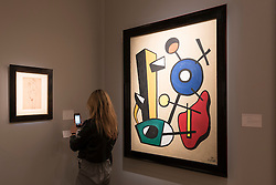 """© Licensed to London News Pictures. 29/06/2016. London, UK.  (R) """"Formes dans l'espace"""" by Fernand Léger at the preview, in Chelsea, of Masterpiece London, the leading international fair for art and design from antiquity to the present day with works from 154 world-renowned exhibitors on sale.  The fair is open until 6 July.Photo credit : Stephen Chung/LNP"""