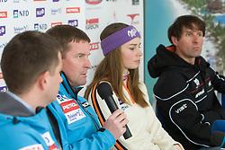 Tomi Trbovc, Matjaz Sarabon, Tina Mazi and Andrea Massi at press conference after Slovenian T. Maze won silver medal at Ski World Championships Val d'Isere 2009, on February 16, 2009, in Hotel Larix, Kranjska Gora, Slovenia. (Photo by Vid Ponikvar / Sportida)