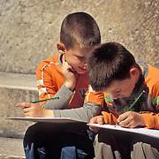 Boys on a school field trip in Split, Croatia