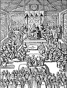 king James I attends Parliament in London
