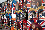 Souvenir bags for sale of Harry and Meghan in London, England, United Kingdom. These royal gifts selling on a stall were prior to the royal wedding to mark the engagement of Prince Harry and Meghan Markle.